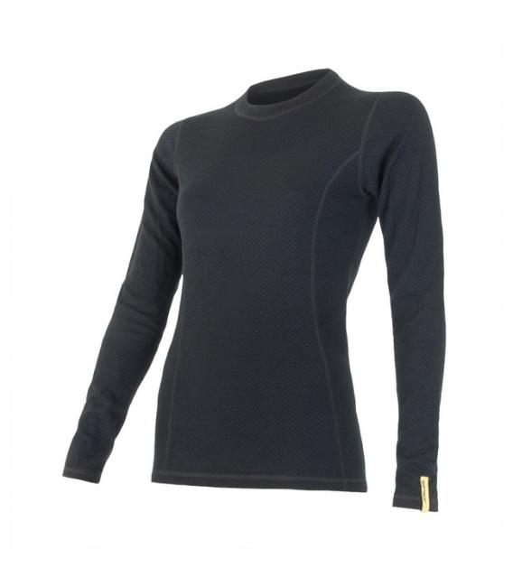 SENSOR termoprádlo MERINO DF dámske tričko dl.rukáv ČIERNA - XL