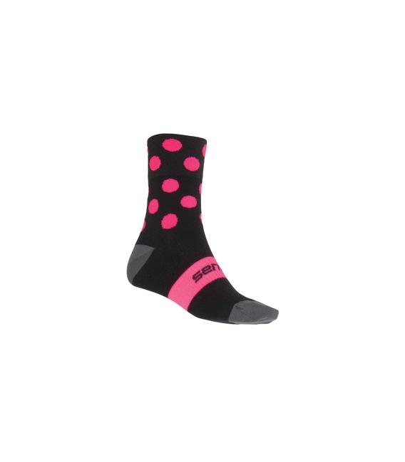 SENSOR Ponožky Dots čierna/ružová - 6-8