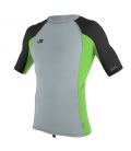 O'NEILL Lycra Premium Skins S/S Rash Guard Cool Grey/Dayglo/Black - L