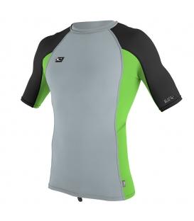 O'NEILL Lycra Premium Skins S/S Rash Guard Cool Grey/Dayglo/Black - XL