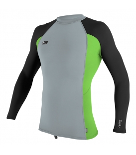 O'NEILL Lycra Premium Skins L/S Rash Guard Cool Grey/Dayglo/Black - XL