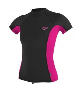 O'NEILL Lycra WMS Premium Skins S/S Rash Guard Black/Berry/Black - XS