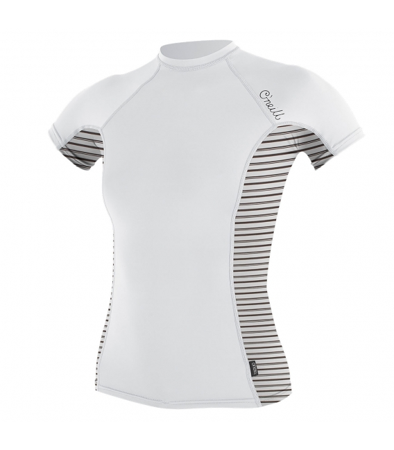 O'NEILL Lycra WMS Side Print S/S Rash Guard White/Highway Stripe - L