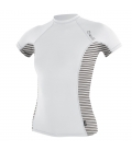 O'NEILL Lycra WMS Side Print S/S Rash Guard White/Highway Stripe - M