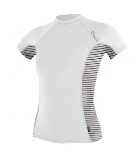 O'NEILL Lycra WMS Side Print S/S Rash Guard White/Highway Stripe - S