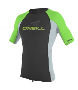 O'NEILL Lycra Youth Premium Skins S/S Rash Guard Turtle Black/Cool Grey/Dayglo - 8