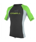 O'NEILL Lycra Youth Premium Skins S/S Rash Guard Turtle Black/Cool Grey/Dayglo - 8